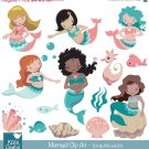 Mermaid clipart,little mermaid clip art,under the sea vector,scrapbook,invitation,greeting cards