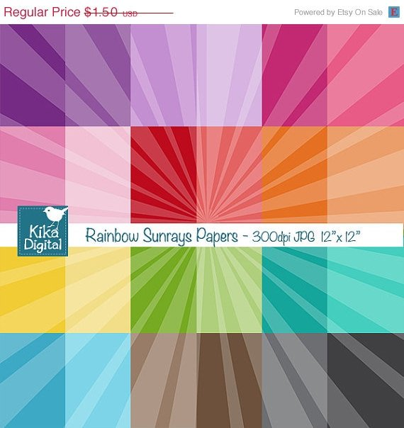 Colorful Sunrays Digital Papers - Colorful Scrapbook Papers - card design
