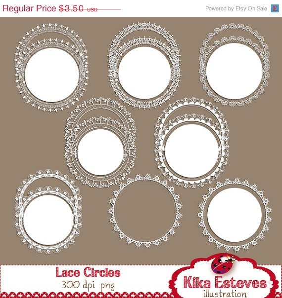 Lace Circles - Digital Clipart / Scrapbook - card design, invitations