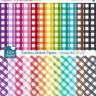 Colorful Gingham Digital Papers- Colorful Digital Scrapbook Papers- card design