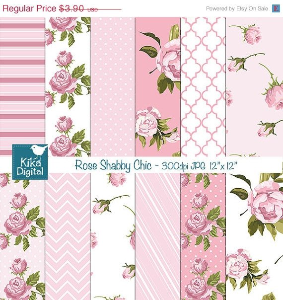 Pink Shabby Chic Digital PapersDigital papersShabby Chic Papers-card
