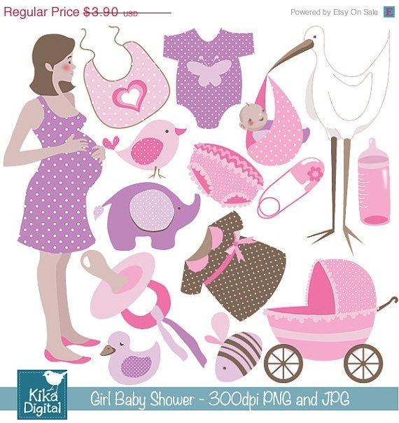 Girl Baby Shower Digital Clipart - Scrapbooking , card design, paper craft