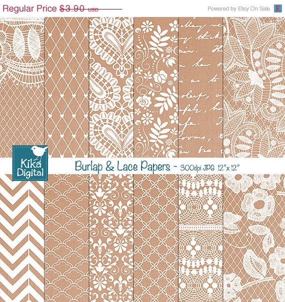 Burlap Lace Digital Papers-Lace Wedding Papers-card designscrapbookparty decor