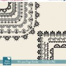18 Lace Page Borders - Digital Clipart / Scrapbooking card design, invitations