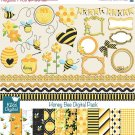 Honey Bee Digital Clipart , Paper Combo- Scrapbooking , card design, stickers