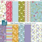 Little Flowers Digital Papers - Digital Scrapbooking Papers - card design