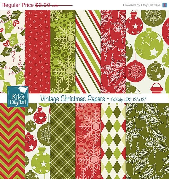 Vintage Christmas Digital Papers - Christmas Scrapbook Papers - card designA