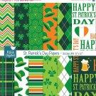 St Patricks Day Digital Papers, Irish Digital Scrapbook Papers card design