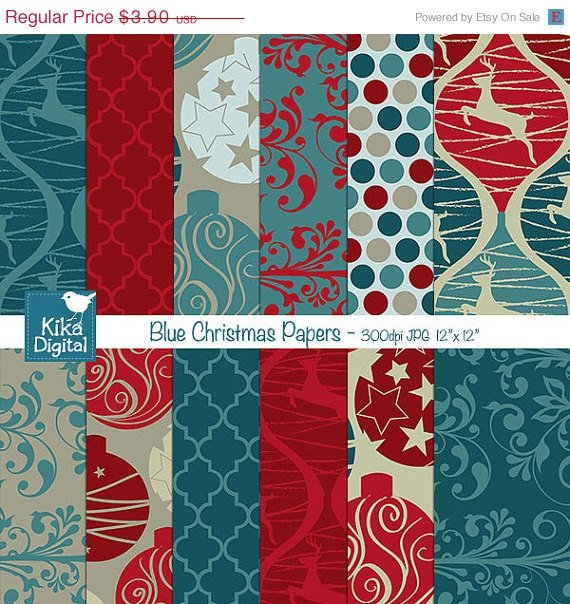 Blue Christmas Digital Papers - Scrapbooking Papers - card design, invitations