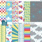 Weather Digital Papers - Rainbow Digital Scrapbooking Papers - card design