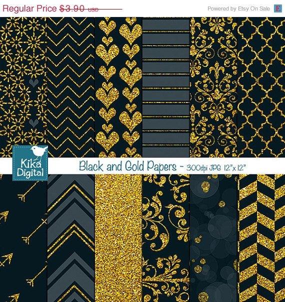 Black Gold Digital PapersBlack Wedding PapersGold Digital Scrapbook Paper in Black & Gold