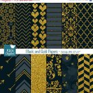 Black Gold Digital PapersBlack Wedding PapersGold Digital Scrapbook Paper in Black & Gold
