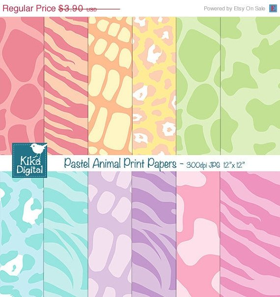 Pastels Animal Print Digital Papers - Digital Scrapbooking, card design