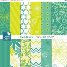 YW Grn Digital Papers - Summer Scrapbook Papers, card design, background