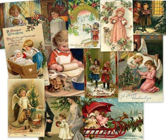 CD 2700 Vintage Victorian CHRISTMAS CHILDREN Kids Images Illustration Art