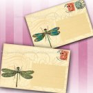 Vintage Postcards, Dragonfly Insect Printable Backgrounds
