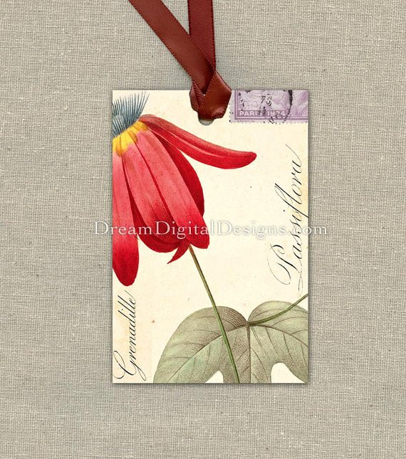 Printable Red Flower, Tags, Collage Sheet Gift Tags, Botanical Illustration