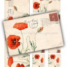 Red Poppies Printable Digital Collage Sheet, Poppy Flowers, Vintage Postcards