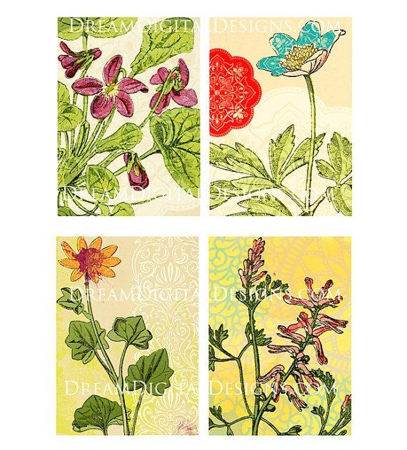 Floral Printables, Tags, Digital Collage Sheet, Printable Gift Tags, Botanical