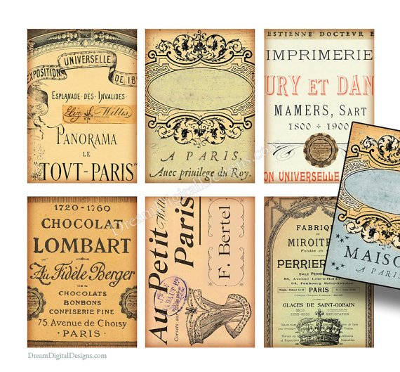 Printable Ephemera, Tags, French Text, Digital collage Sheet, Paris Gift Tags