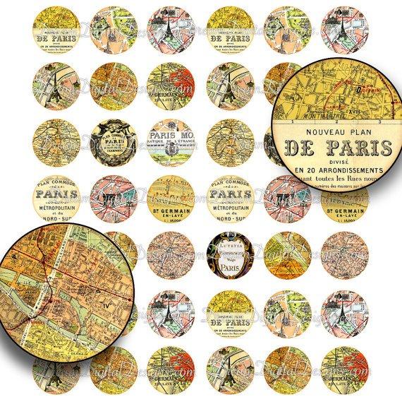 Paris Map 1 inch Circles - Printable Digital Collage Sheet, Vintage Paris Map