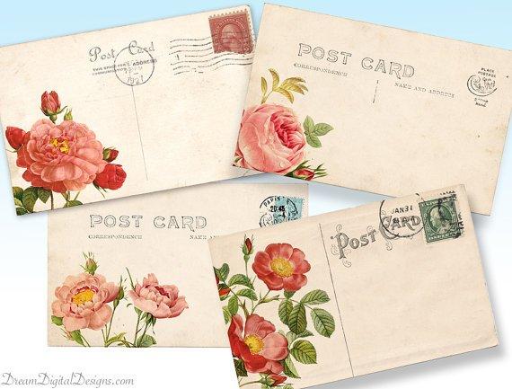 Printable Rose Vintage Postcards, Floral Digital Collage Sheet, Background