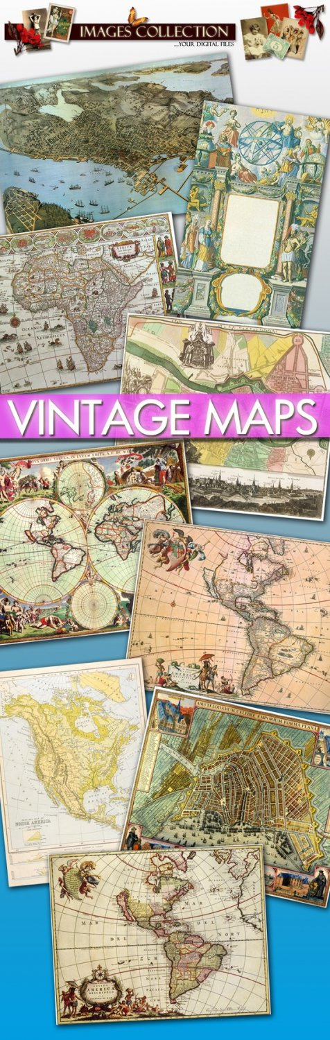 Digital collection 80 Antique Maps Large Img. printable , cards