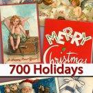 Collection New Year Santa Claus Christmas holidays vintage print