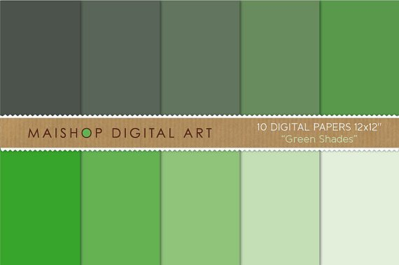 Solid Color Digital Paper - Green Shades