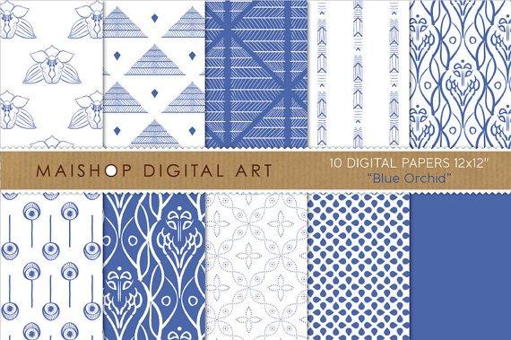 Digital Paper Blue Orchid