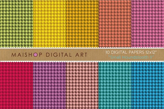 Digital Paper-Sm Houndstooth II-Classic Hounds Tooth Check print Patterns Craft