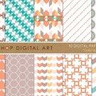 Digital Paper-Gabriela-Pink PaleGrnish Blu,OrgGeometricalChevron PatternStripes