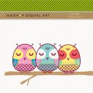 Clip Art Owls - Digital Collage Sheet Owls