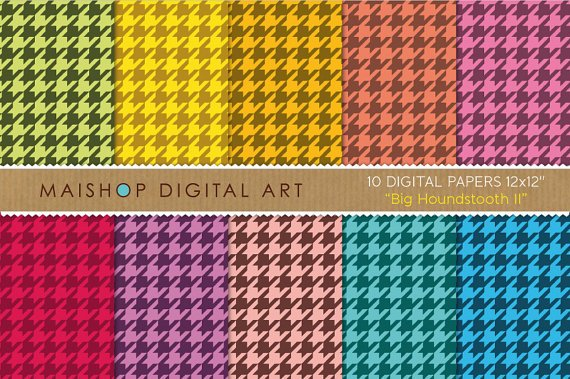 Digital Paper-Big Houndstooth II-Classic Hounds Tooth Check print Papers Crafts