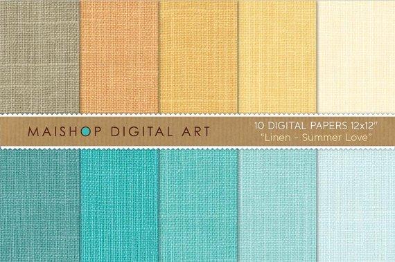 Digital Paper Linen-Summer Love-YellowOrgTurquoiseBlueCelestePlain Color Digital Sheets