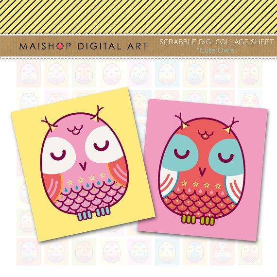 Scrabble Collage Sheet Cute Owls - print Sheets for Pendants, Keyrings, Magnets