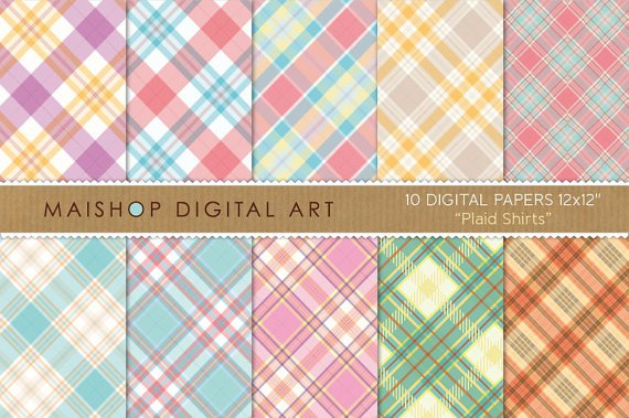 Digital Paper-Plaid Shirts-YellowPurpleRedBlueGrayBeigePinkOrgTartan Pattern Digital Sheets