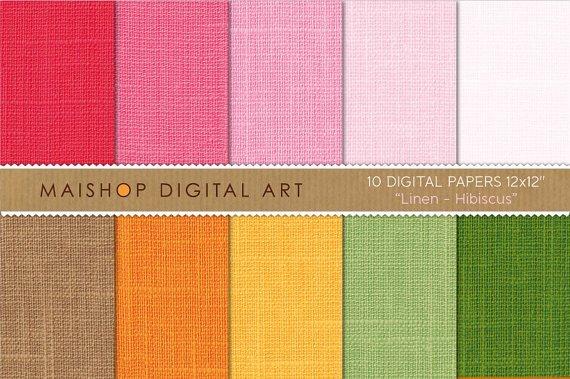 Digital Paper Linen-Hibiscus-Pink,Brw,OrgYWGrnTextured Scrapbooking Papers for Card MakingScrapbook