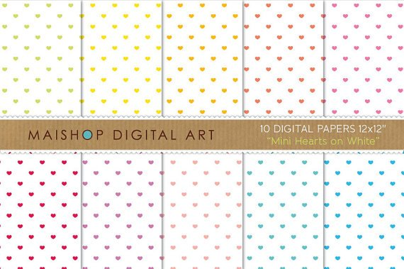 Valentine's Digital Paper-Mini Hearts on Wh-papersingCard Making Wrapping Paper