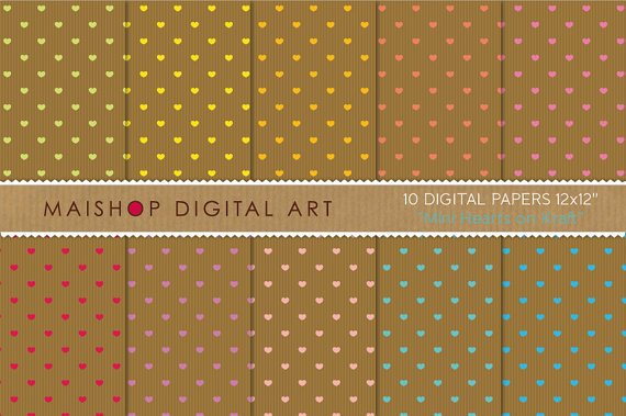 Digital Paper - Mini Hearts on Kraft - Love theme Digital Sheets - 12x12 inches