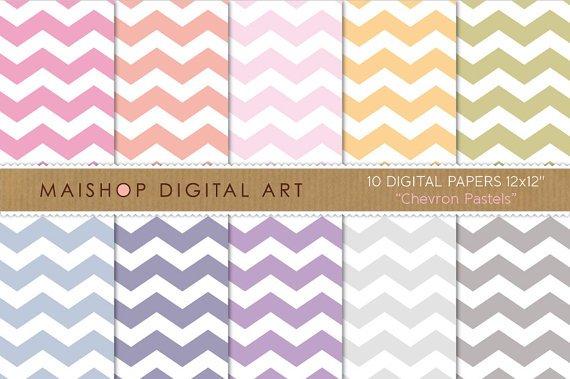 Digital Paper-Chevron Pastels-Soft Pink,OrgGrnBluPurpGray Colors Chevron Pattern