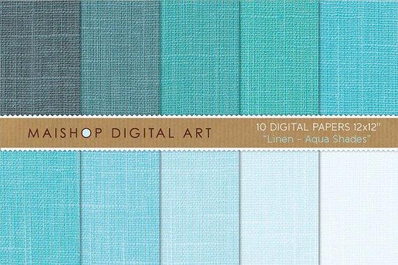 Digital Paper Linen-Aqua Shades-Light BlueTurquoise-Digital ScrapbookingCard MakingBackgrounds