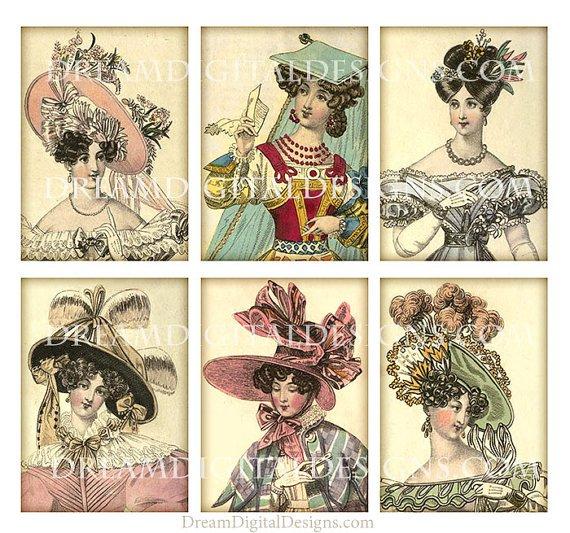 Ladies Fashion Hats, Digital , Tags, Fashion Collage Sheet, Printable Gift Tags