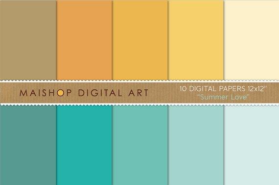 Solid Color Digital Paper - Summer Love