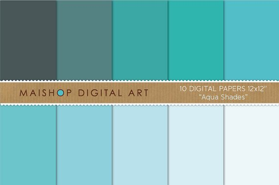 Solid Color Digital Paper-Aqua Shades-Plain BlueTurquoiseCeleste Sheets for Paper CraftsDIY Crafts