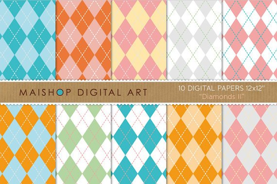 Digital Paper - Diamonds II - Argyle Patterned Papers, Card Making, Wood Letters