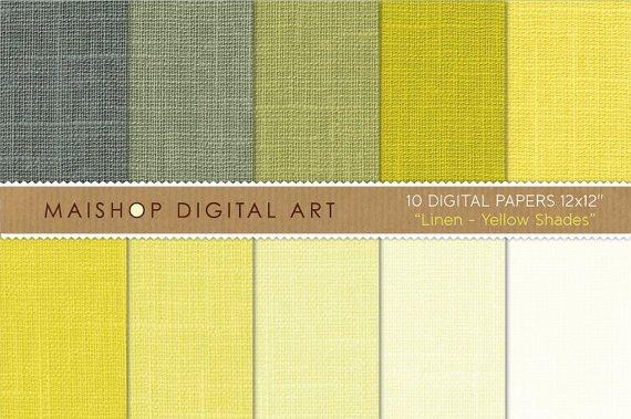 Digital Paper Linen-YW Shades-Lemon YWGrnish YWPistachioCream Scrapbook Paper