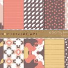 Digital Paper-Kiss II-BrwOrgMustard Retro Colors print Papers for Gift WrappingCardsScrapbook
