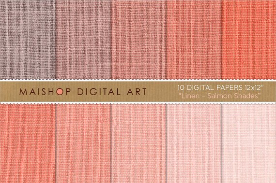 Digital Paper Linen - Salmon Shades - Apricot, Melon, Tea Rose, Textured Papers