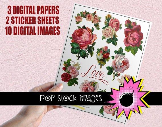Victorian Roses Valentine Creative Kit-Digital Diecut Roses-Roses Sticker Sheet-Digital Papers-